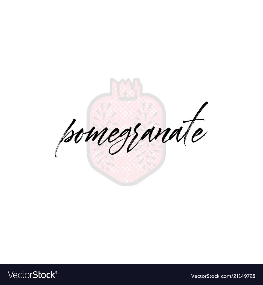 Pomegranate word on background fruit