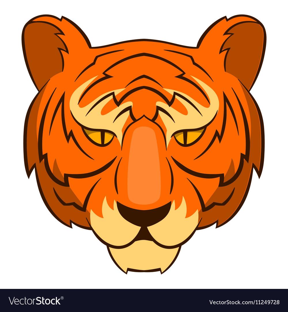 Tiger head icon cartoon style