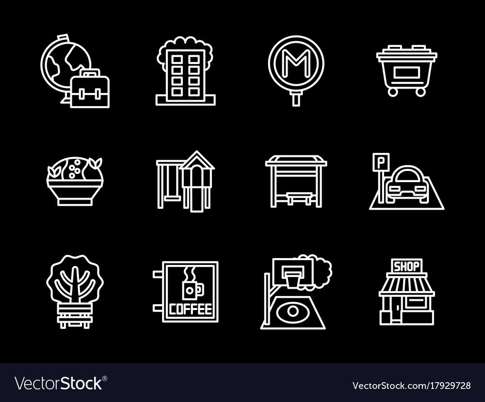 Urban infrastructure black line icons set