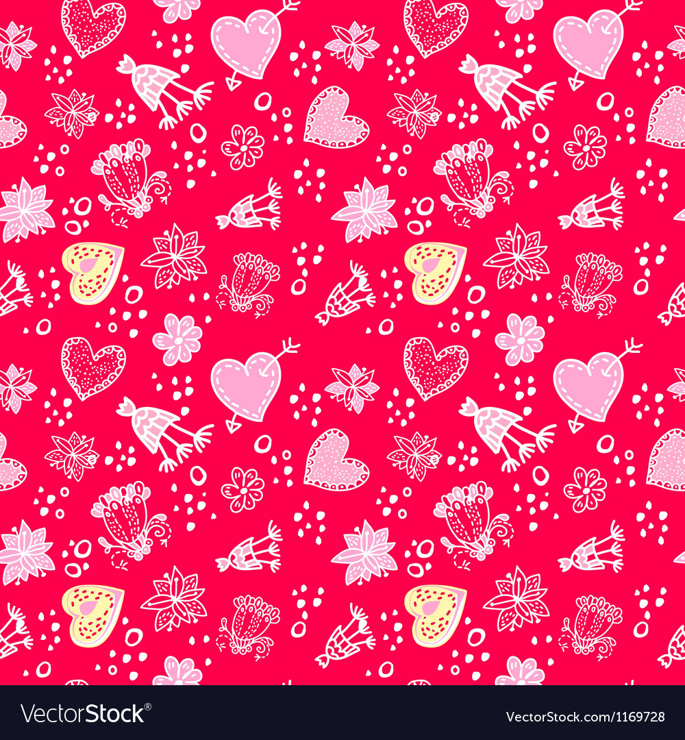 Valentines day Love Doodle Floral seamless Pattern
