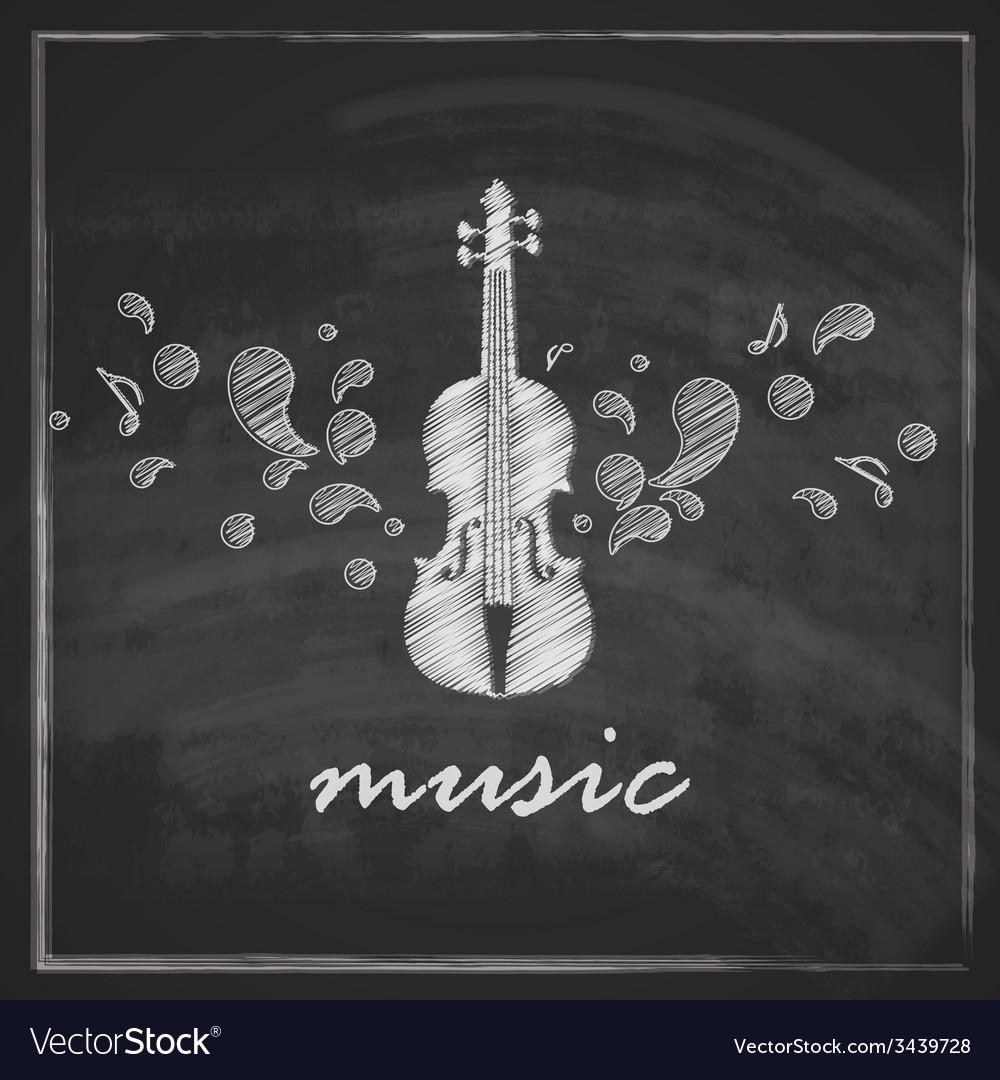 Vintage with the violin on blackboard background