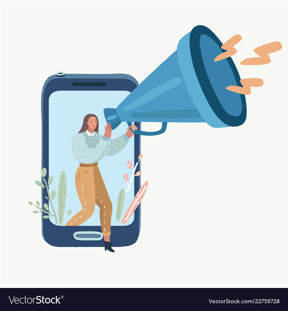 Woman with megaphone speaking out of the screen