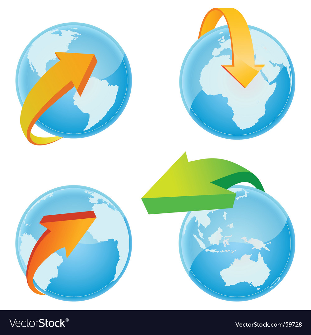 World with arrow vector image