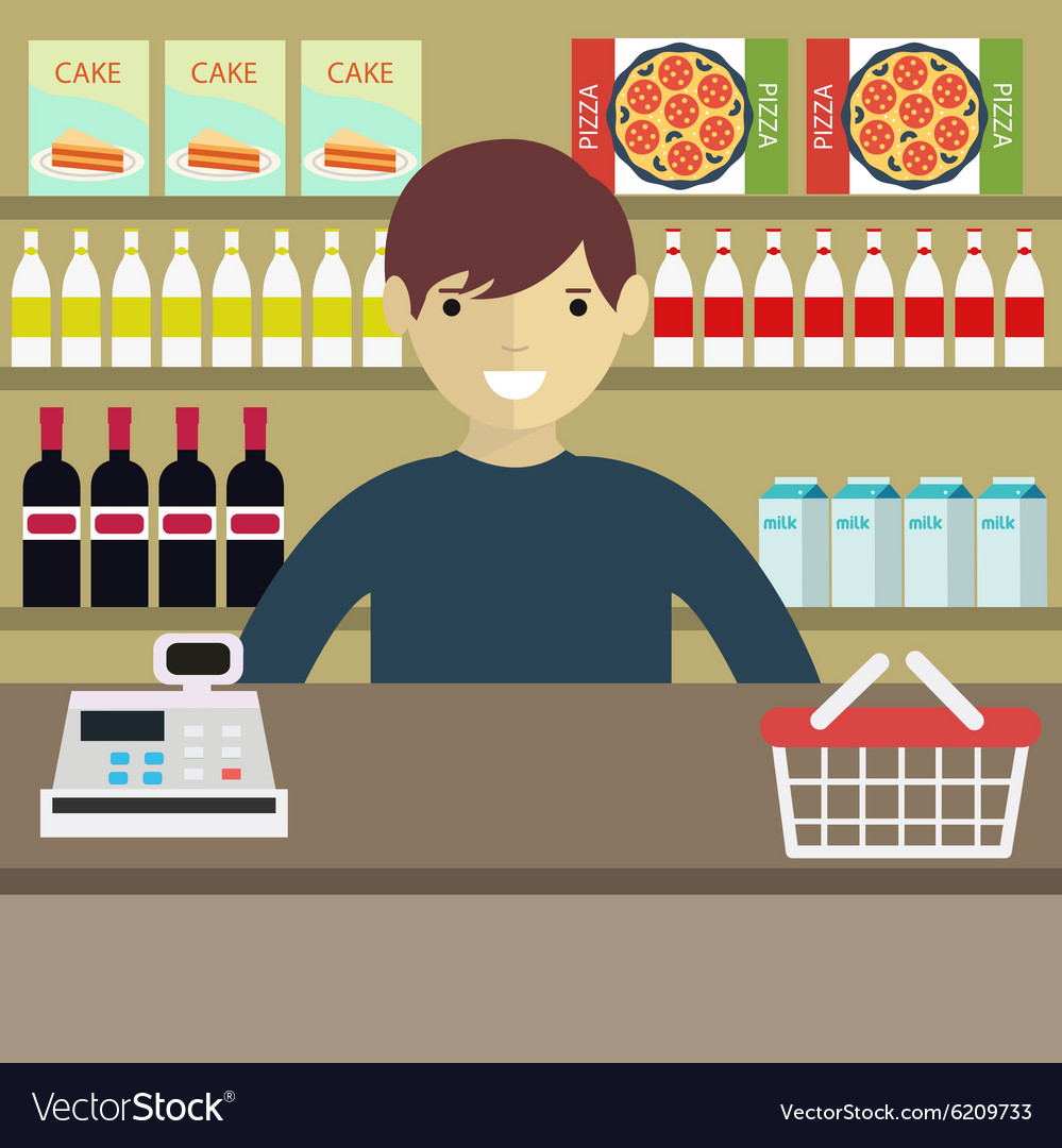 A Young cashier man standing in supermarket