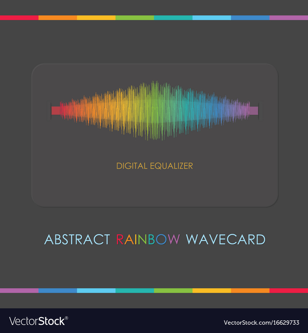 Abstract multi color digital equalizer gray card
