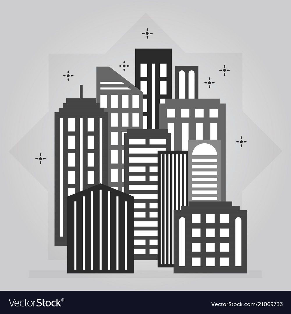 Black and gray night downtown city skyline icon