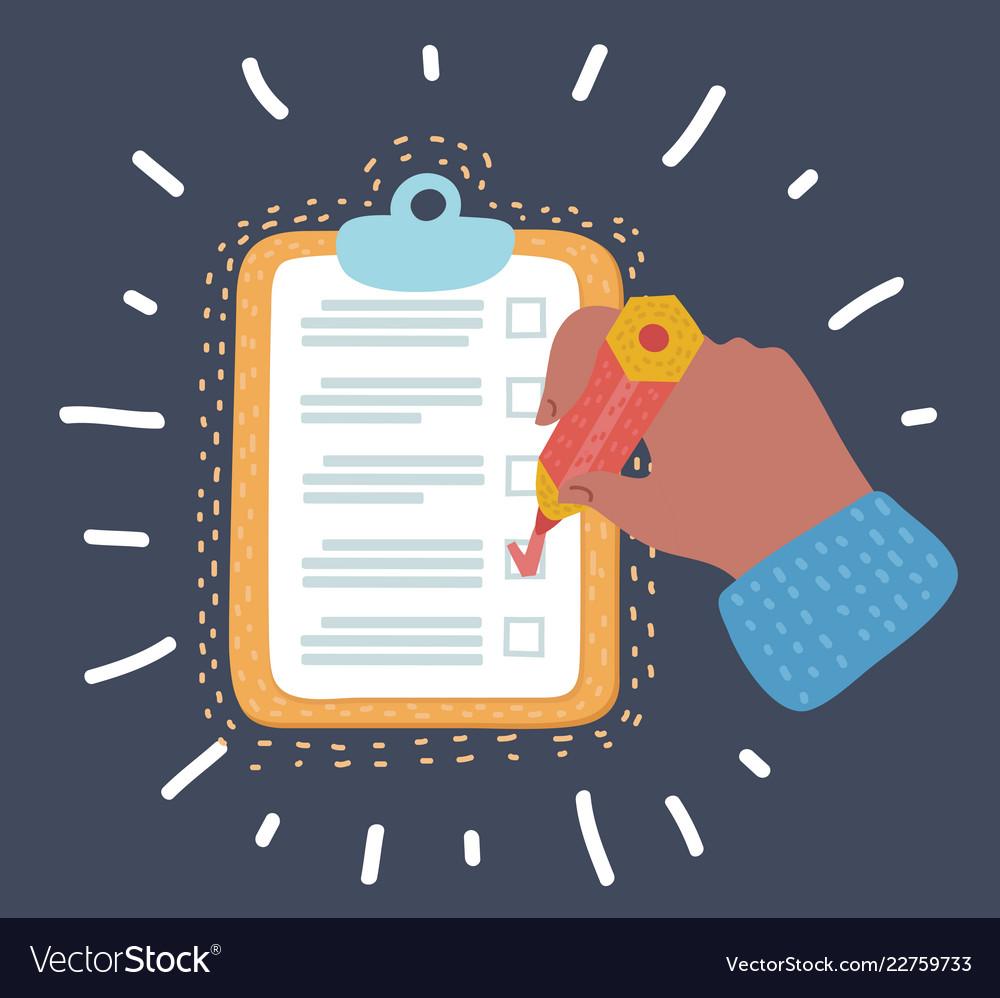 Clipboard checklist productivity hand check