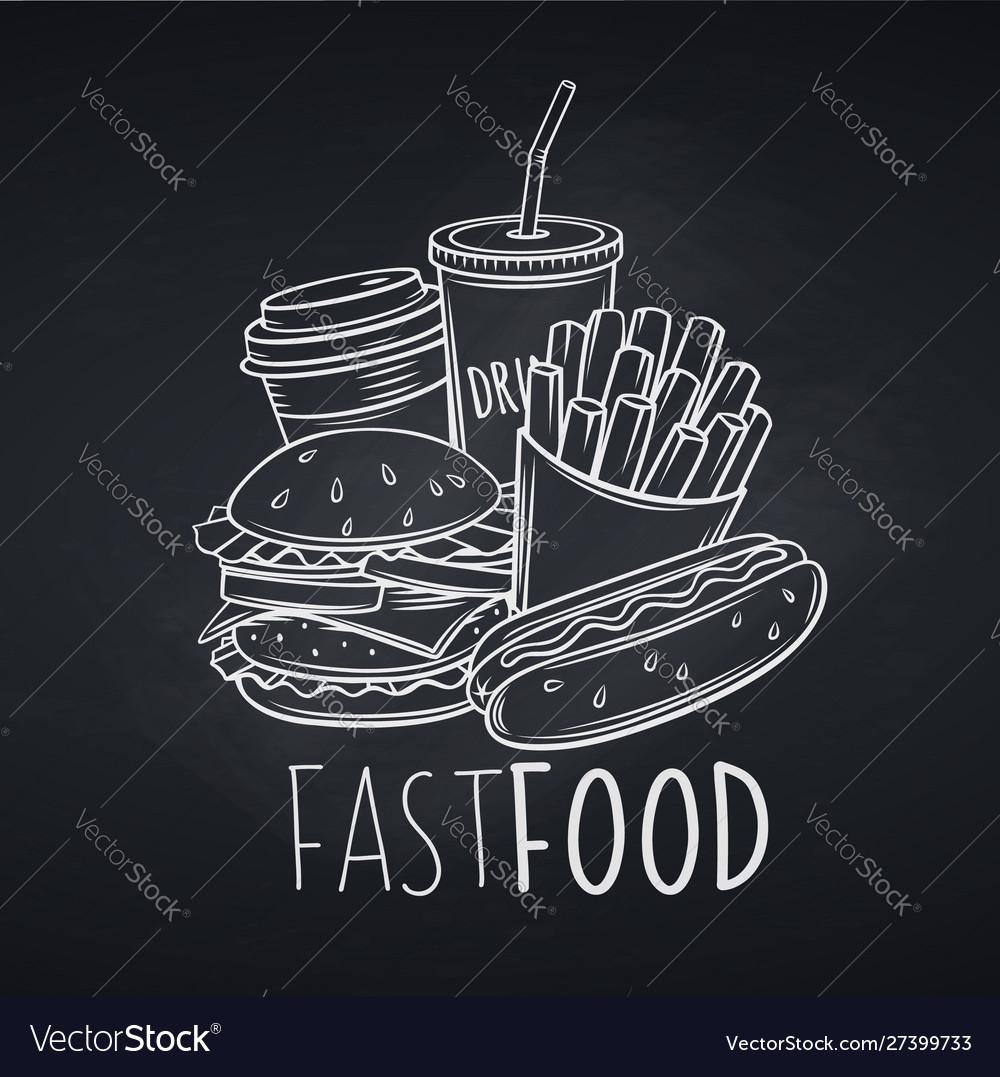Fast food icon chalkboard style