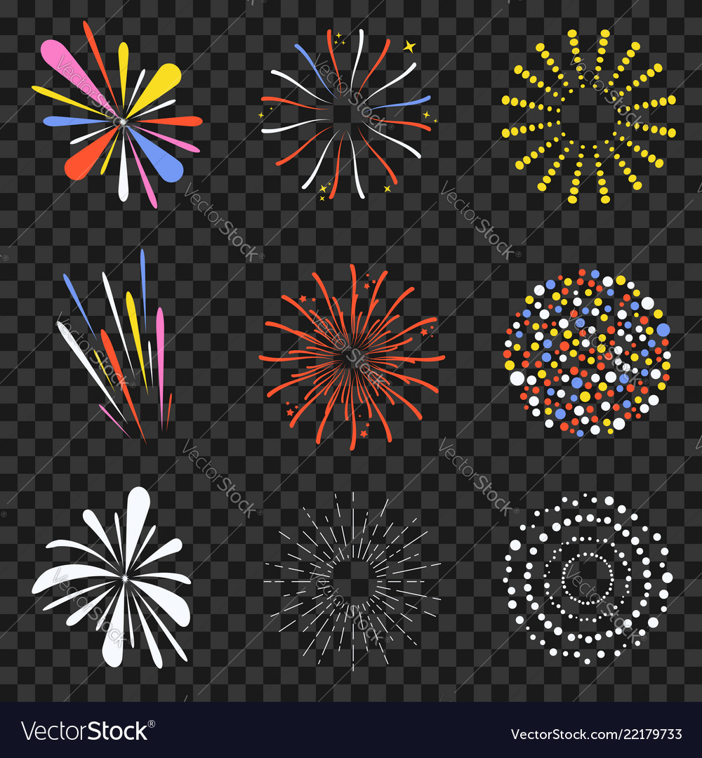 Festive fireworks isolated on transparent