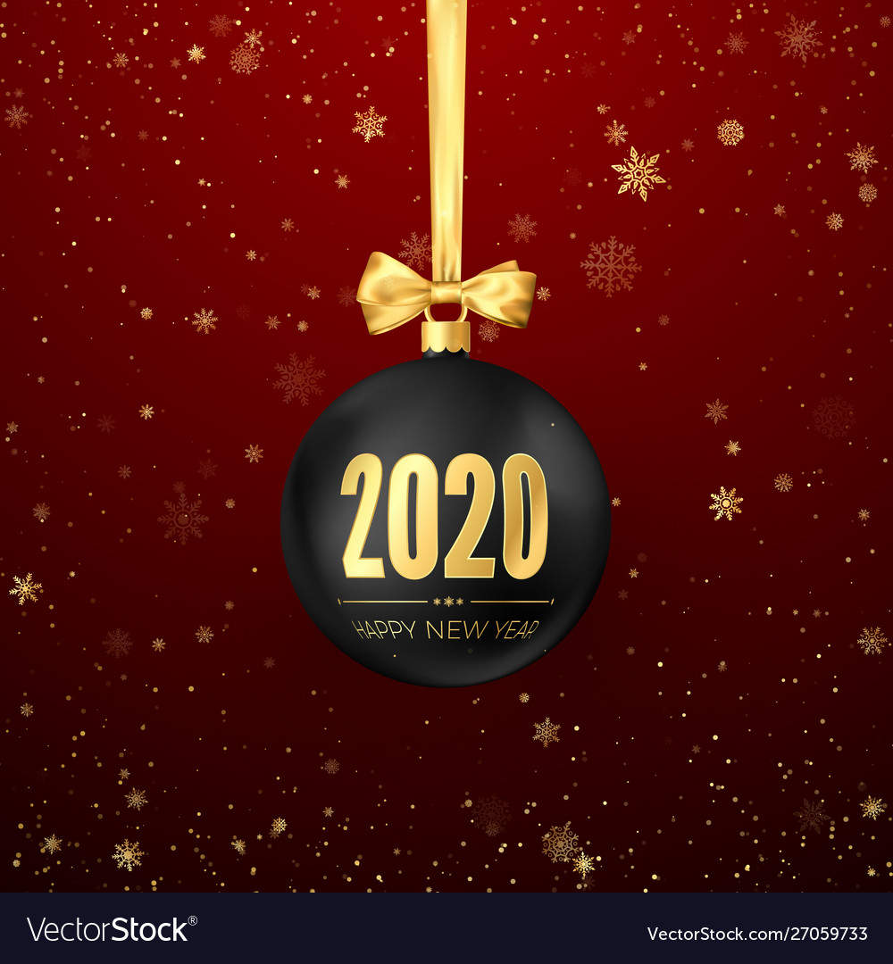 Happy New Year 2020 Greeting Card With Snowfall