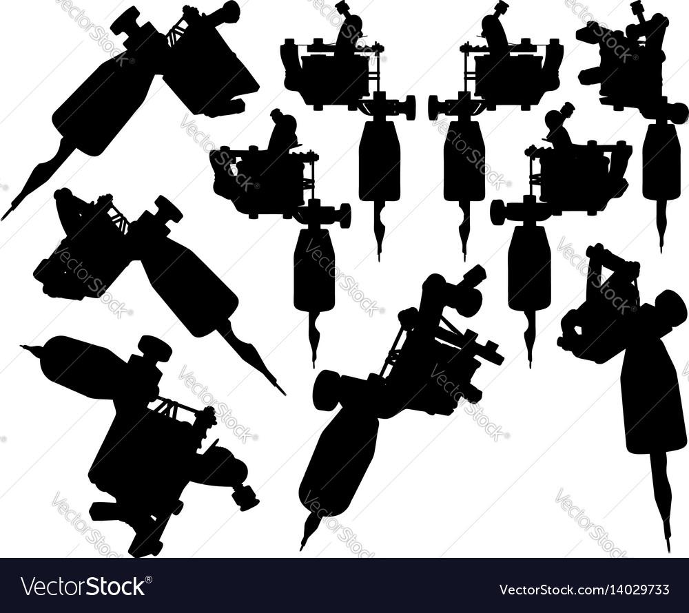 Lot of black silhouette graphic tattoo machines