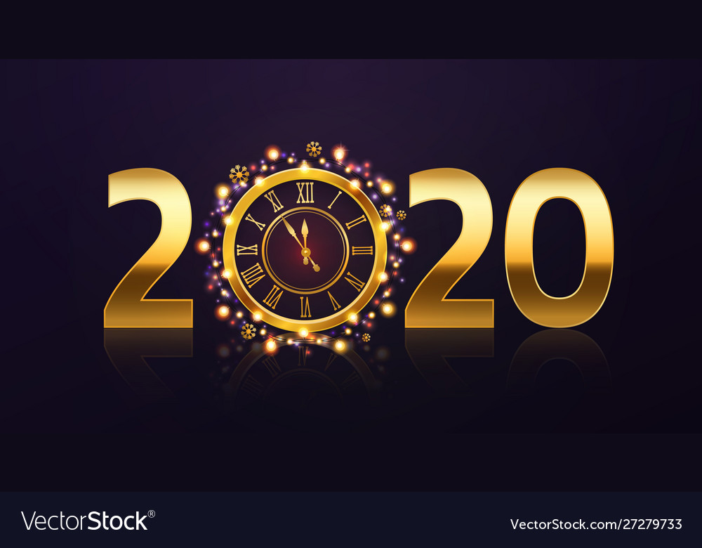 New year clock background golden 2020 numbers and