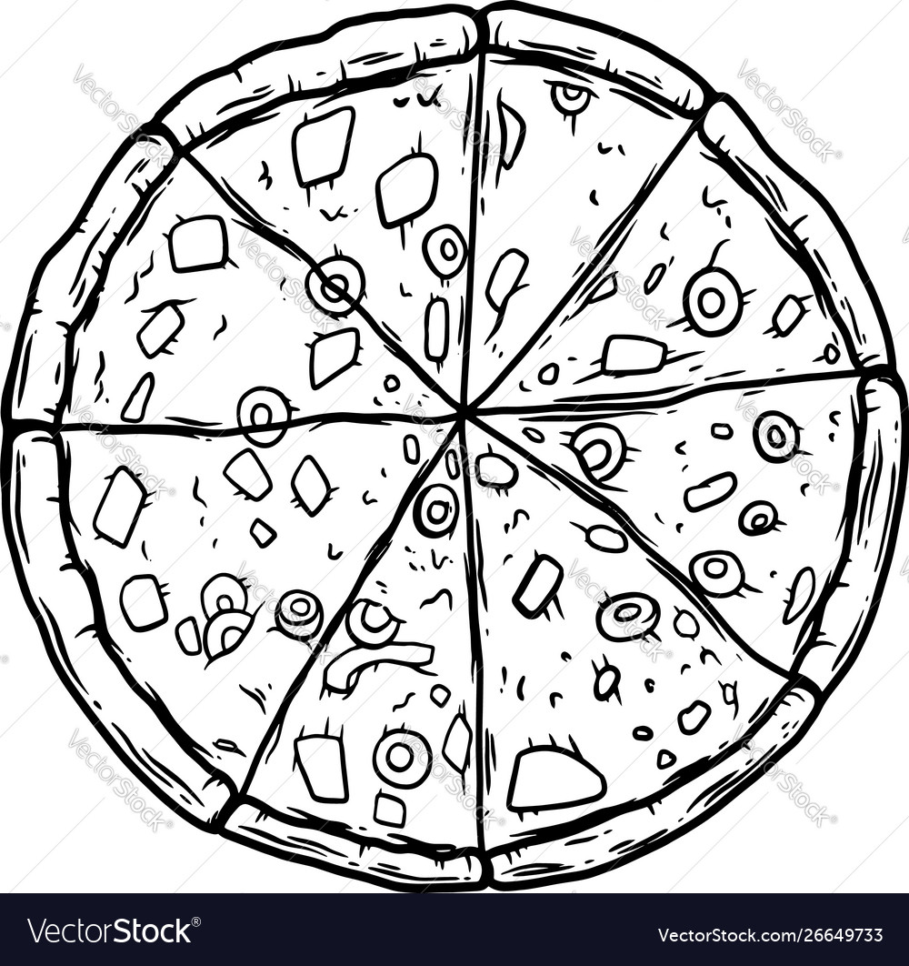 Pizza on white background design element