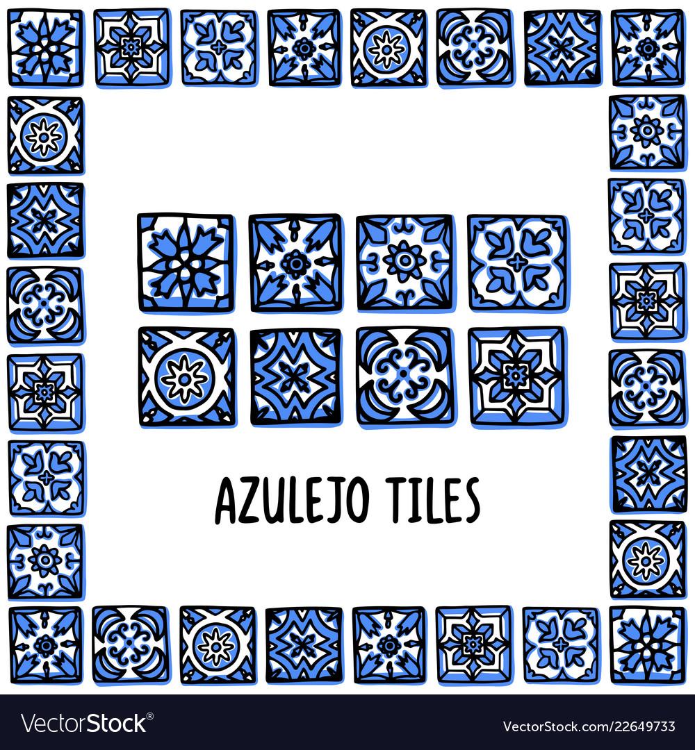 Portugal landmarks set portuguese tiles azulejo