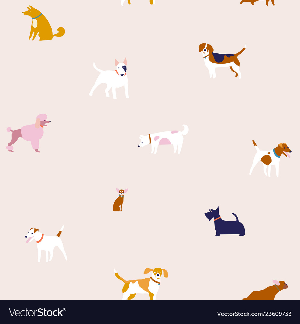 Puppies dog seamless pattern in breed of