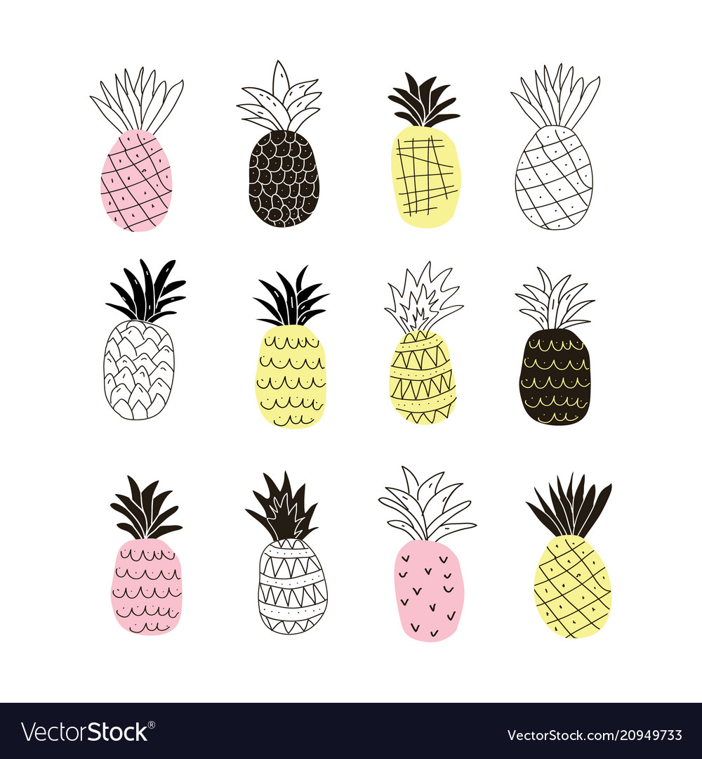 Set of colorful abstract pineapples