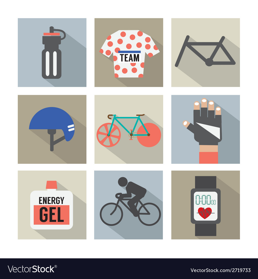 Set of Flat Design Bicycle and Accessories Icons