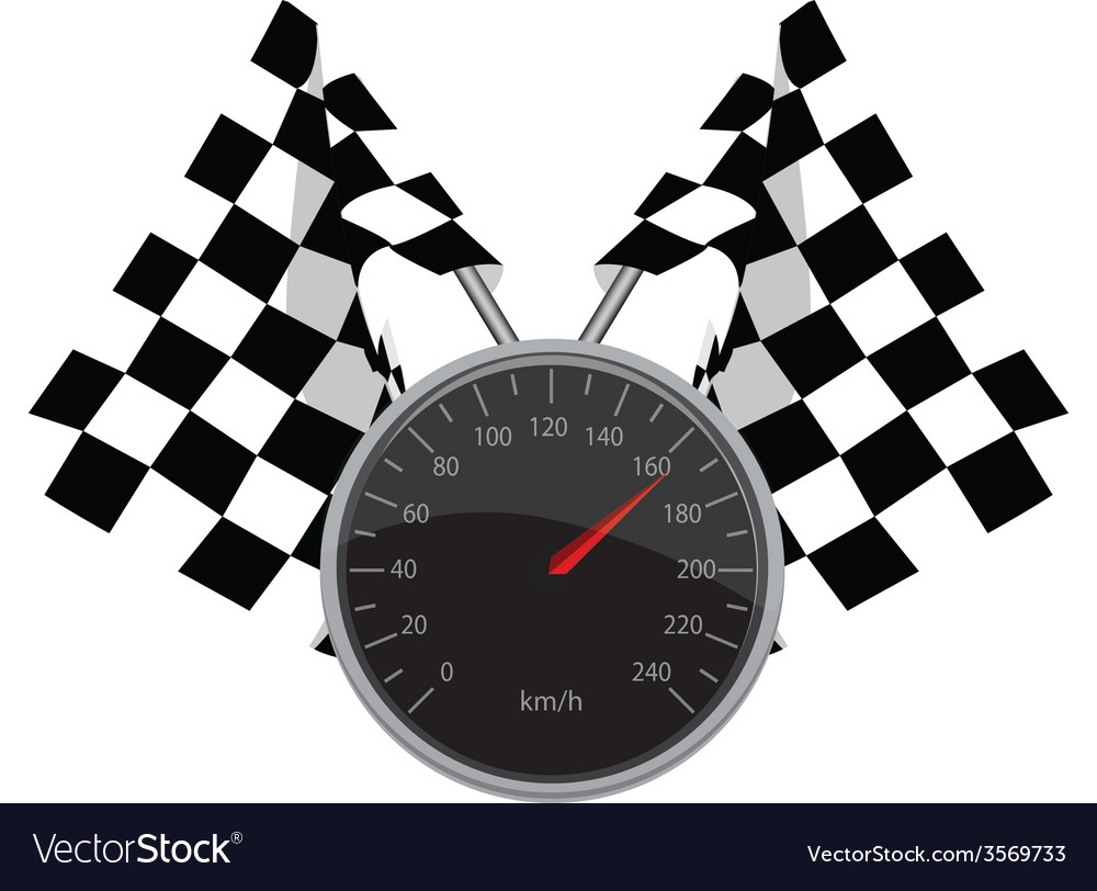 Speedometer and crossed flags vector image