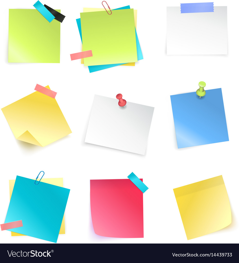Sticky notes set vector image