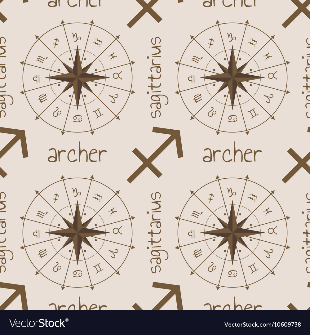 Astrology sign Archer Seamless pattern