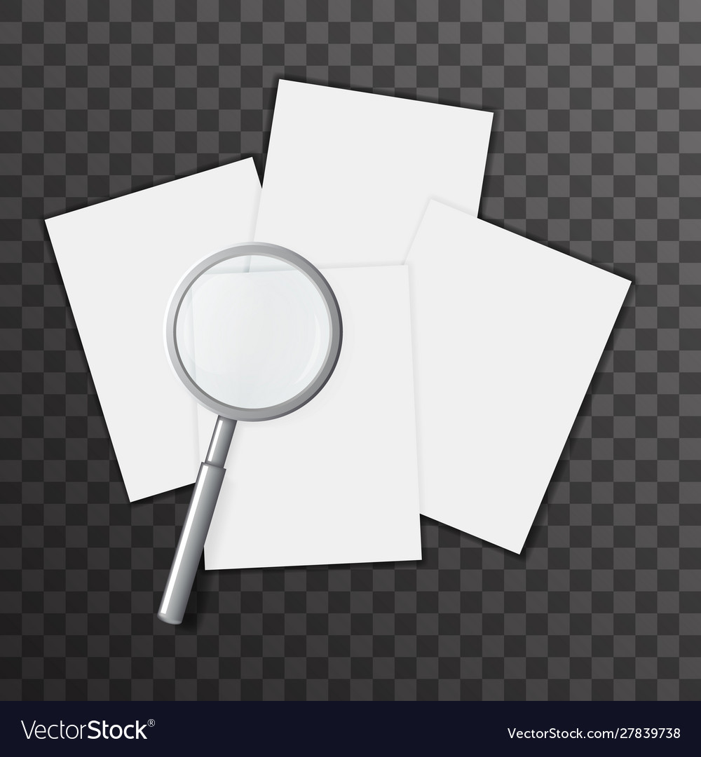 Blank paper sheet page magnifying glass 3d