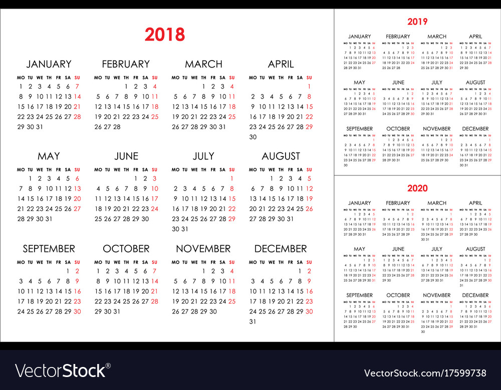 Calendar for 2018 2019 2020 years