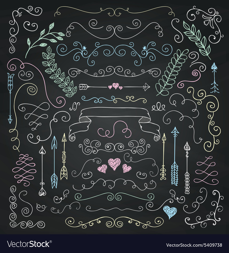 Chalk Drawing Rustic Floral Design Elements vector image