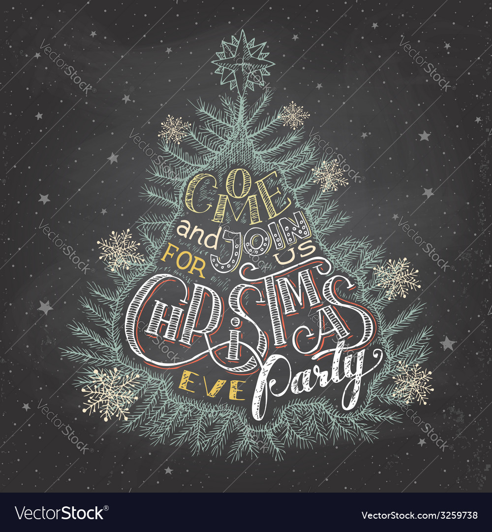 Christmas eve party invitation chalkboard