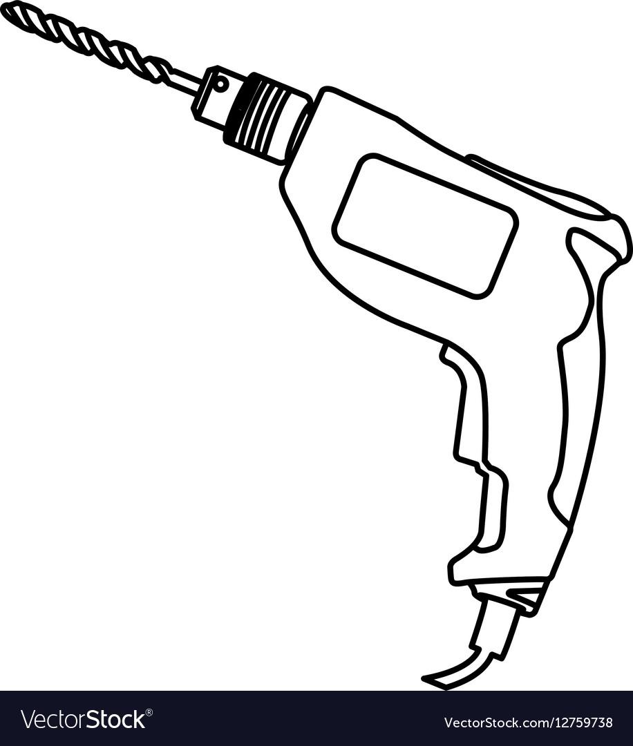 Contour line monochrome with drill vector image