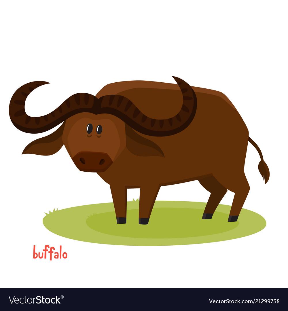 Cute buffalo bull in cartoon style isolated