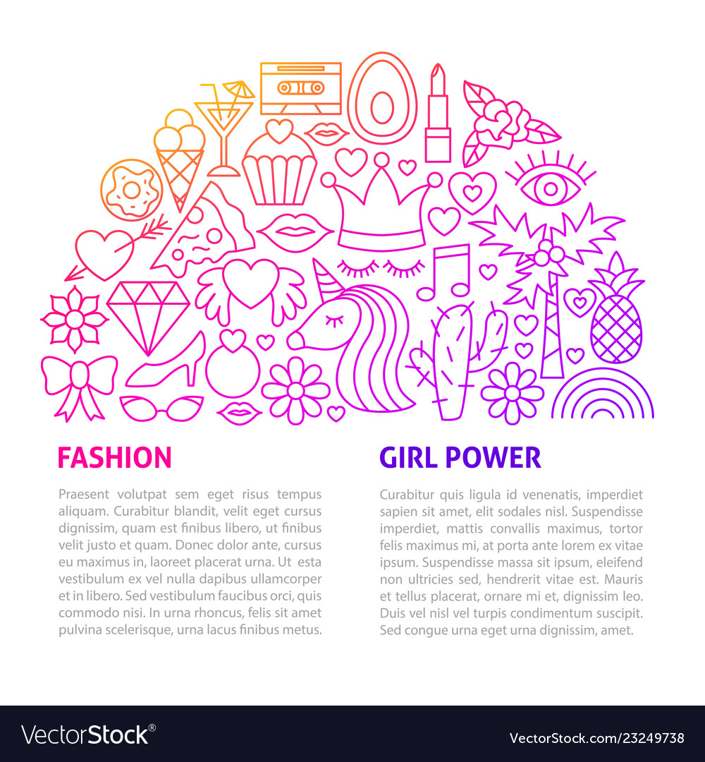 Fashion girl line template