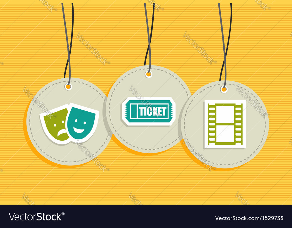 Hanging entertainment badges vector image