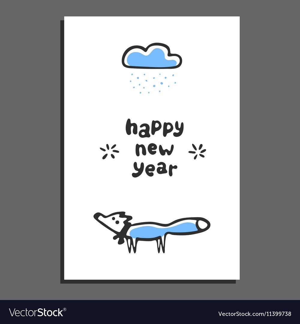 happy new year greeting card with cute cartoon fox