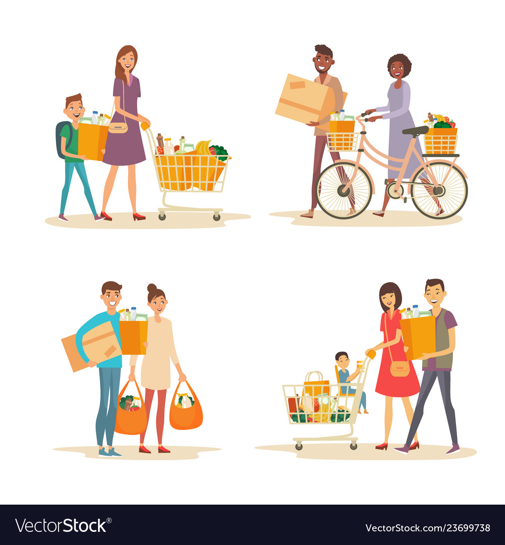 Interracial happy family with trolley and grocery