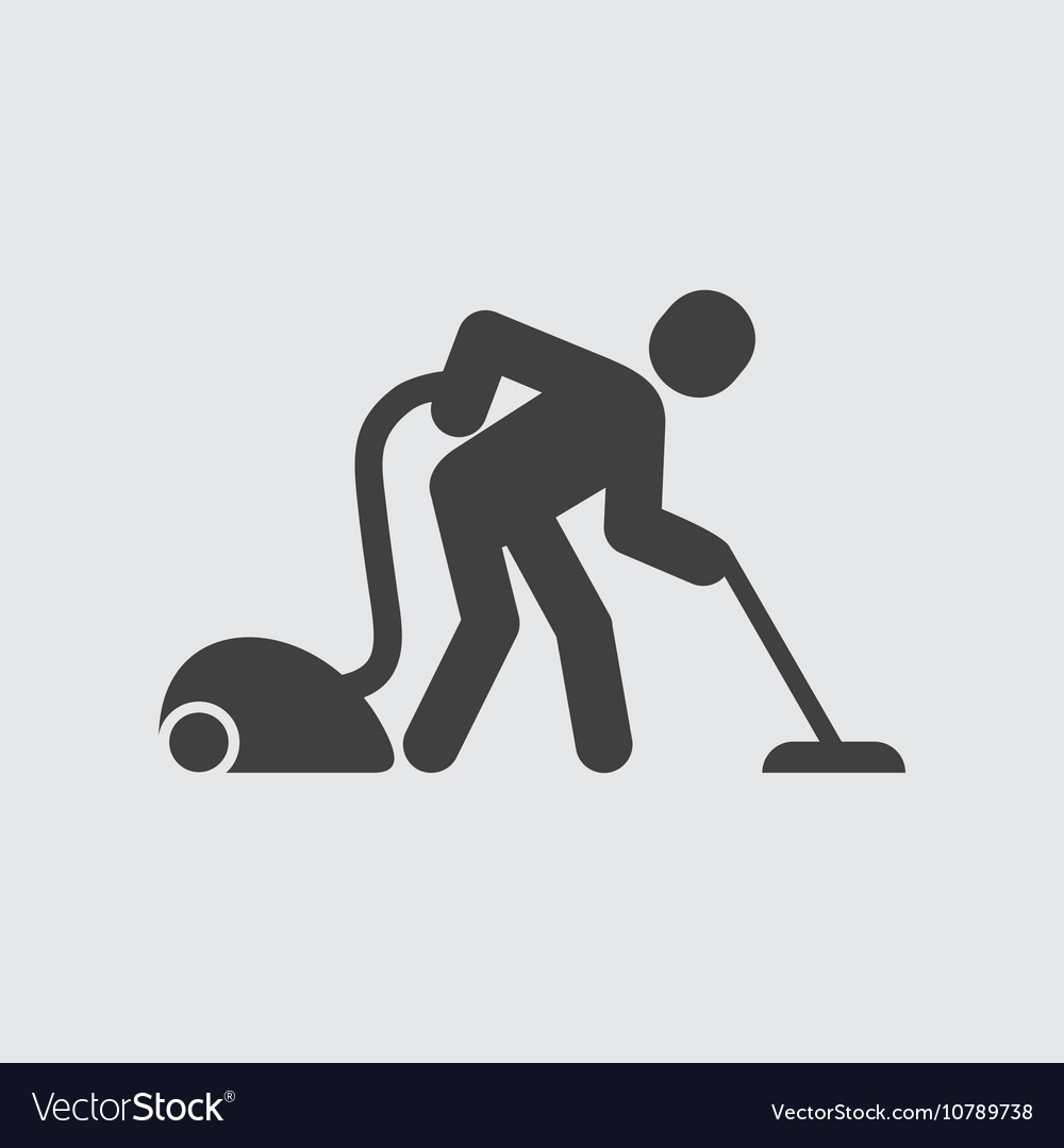 Man with vacuum cleaner icon
