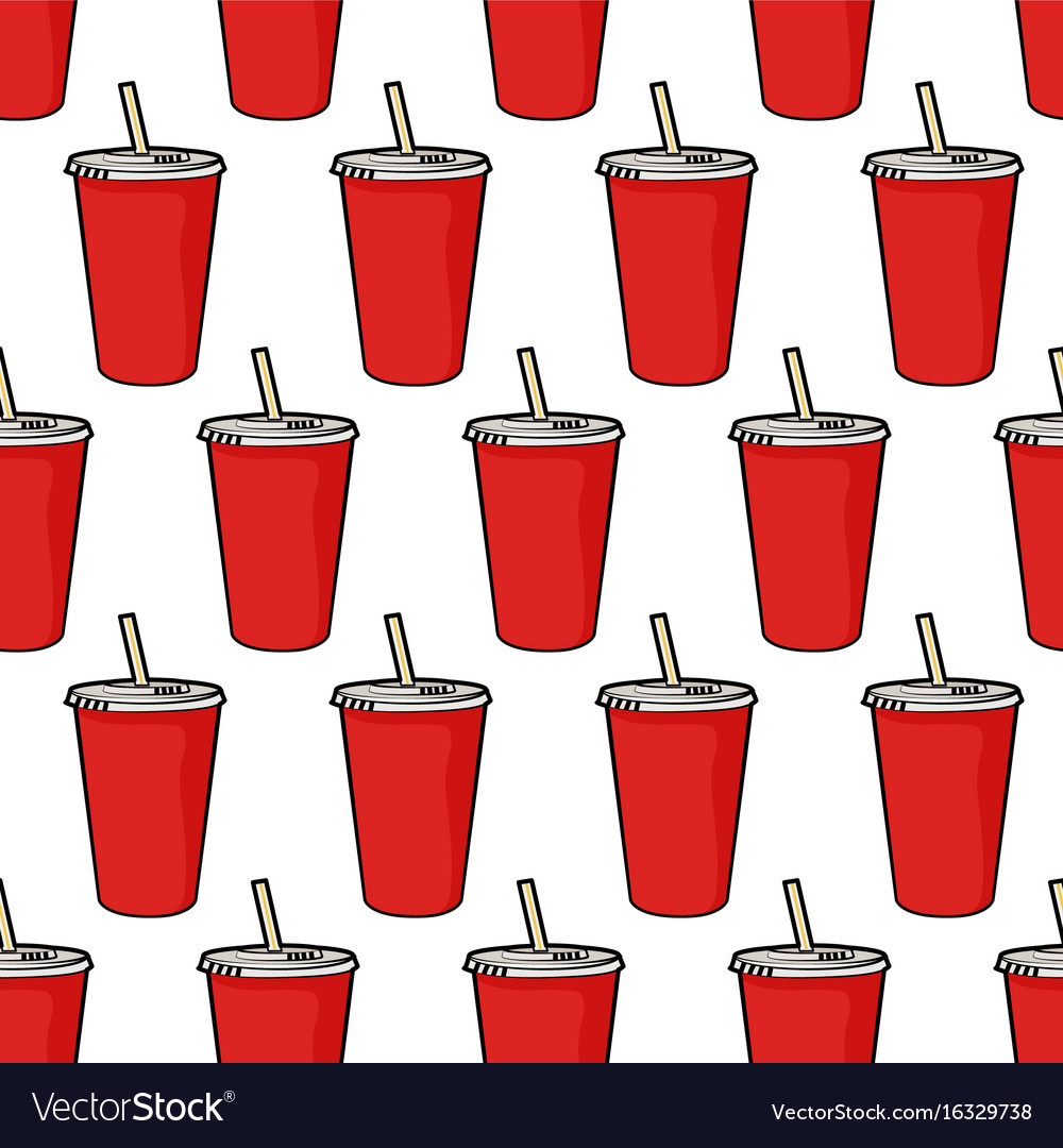 Pattern with red soda cup with straw
