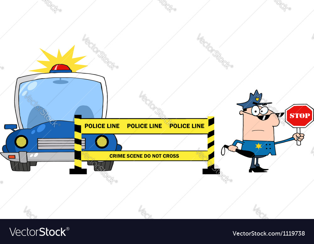 Police Line And Police Officer With Car