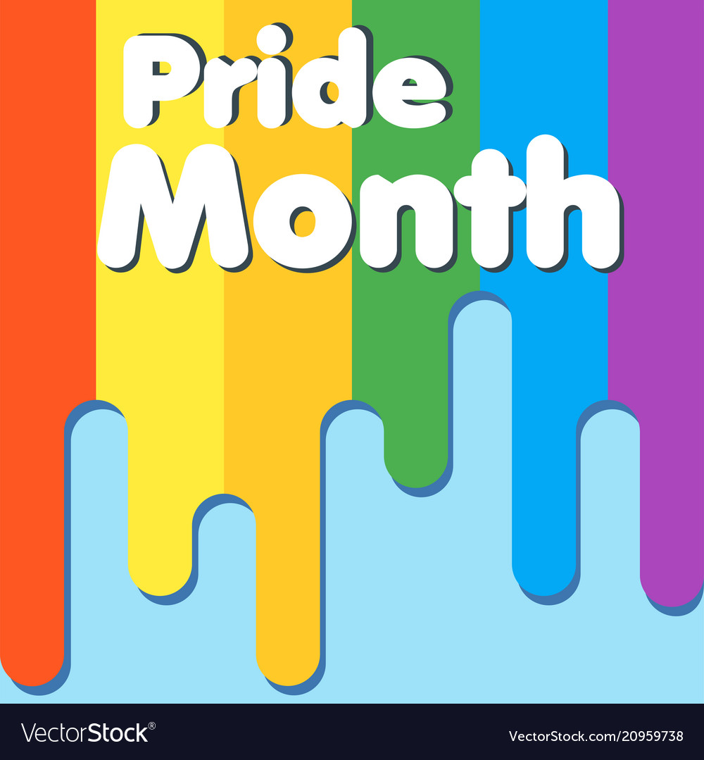 Pride Month Text Rainbow Wallpaper Background Vect Vector Image