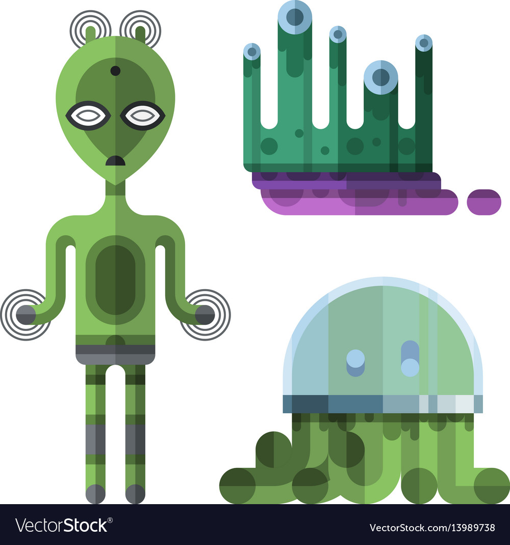 Set of different funny cartoon monsters cute alien