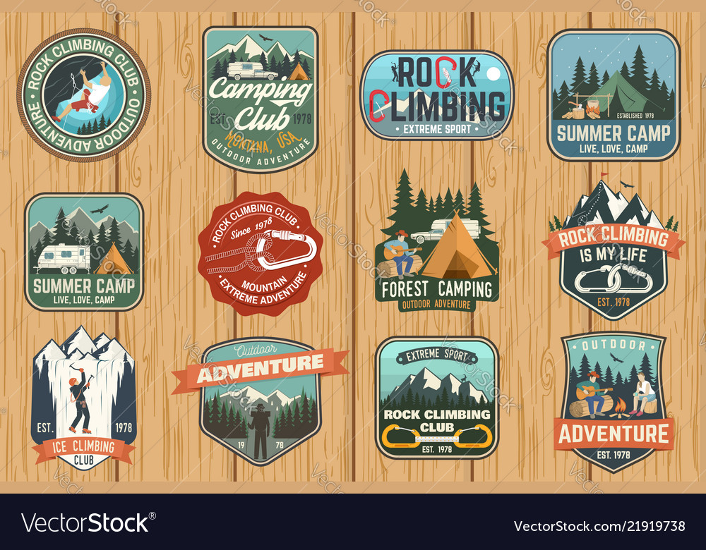 Set of rock climbing club and summer camp badges