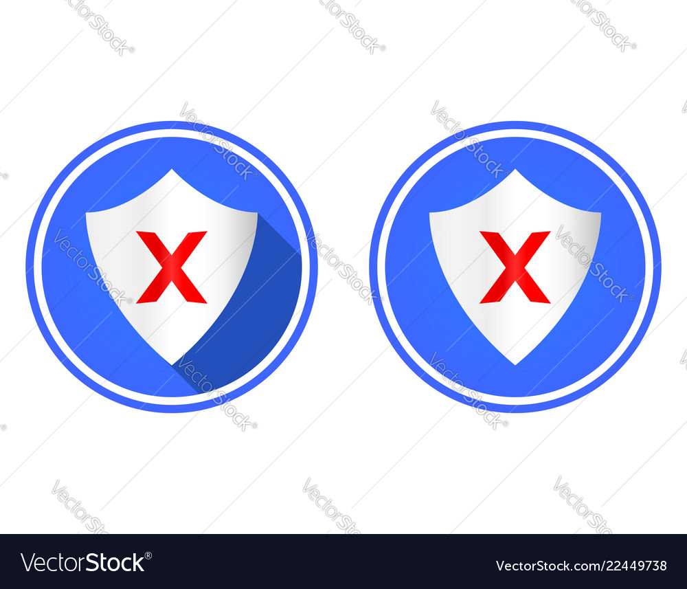 Shield and cross round flat icon