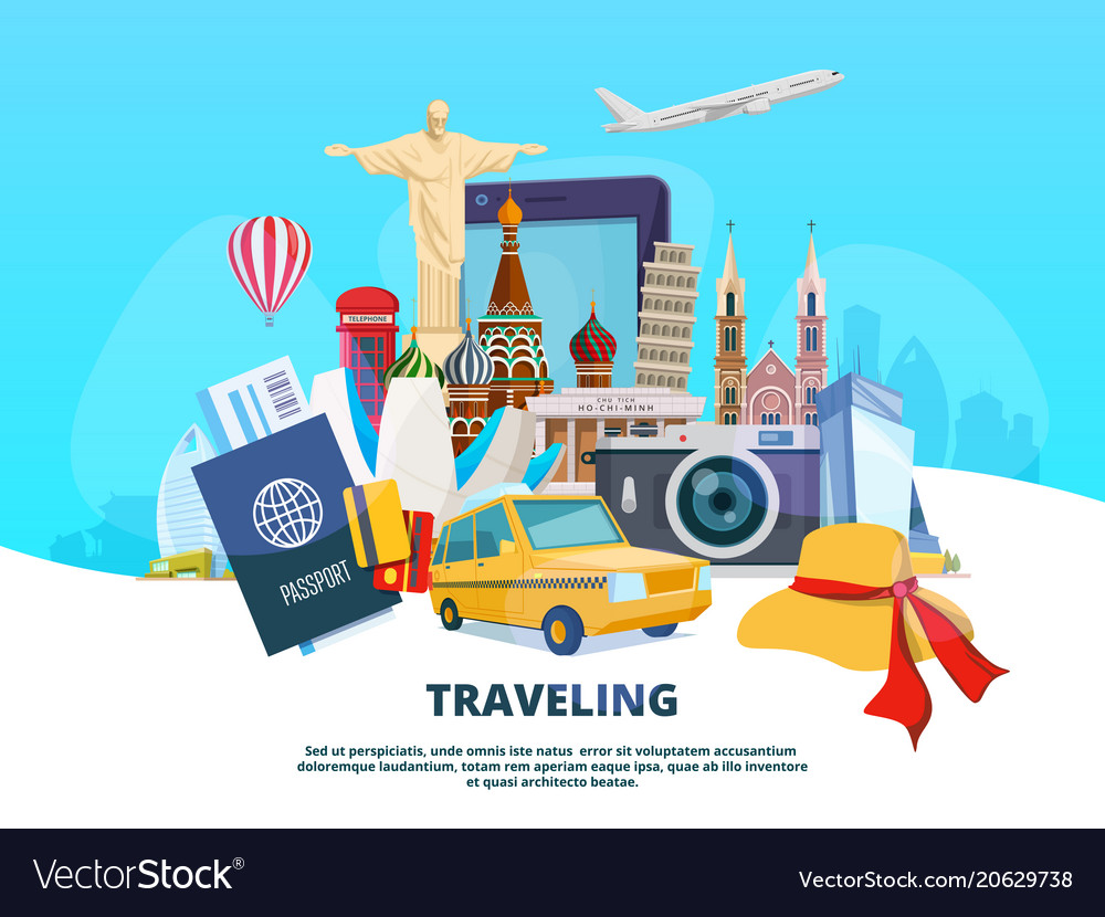 Travel background of different world