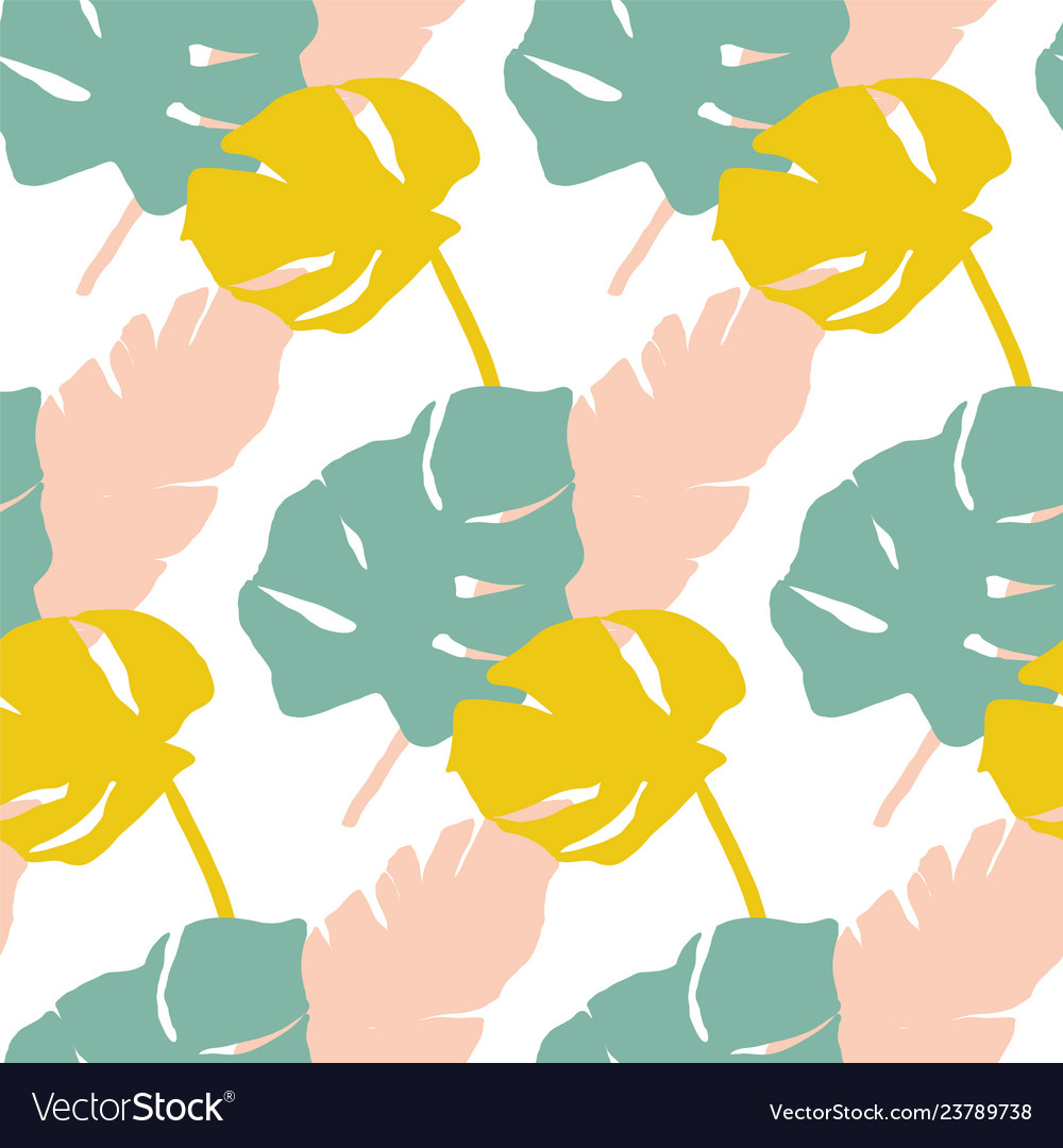 Tropical leaves pattern in mint yellow and pink
