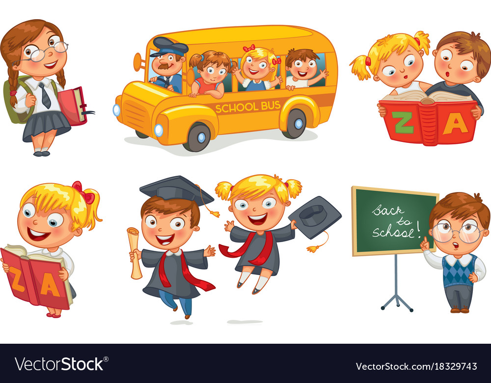 Back to school cartoon. Funny character
