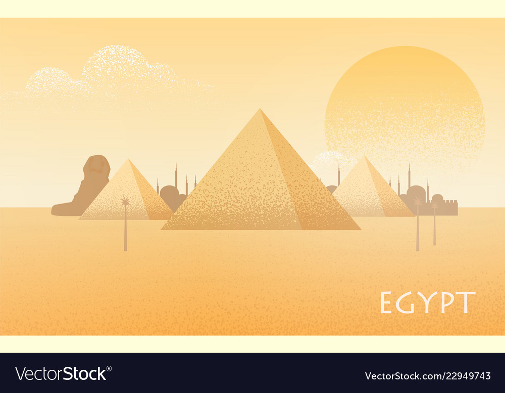 Beautiful egypt desert landscape with silhouettes
