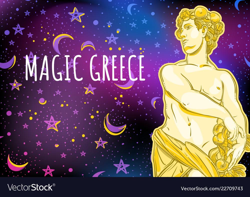 Beautiful greek god on magical space background