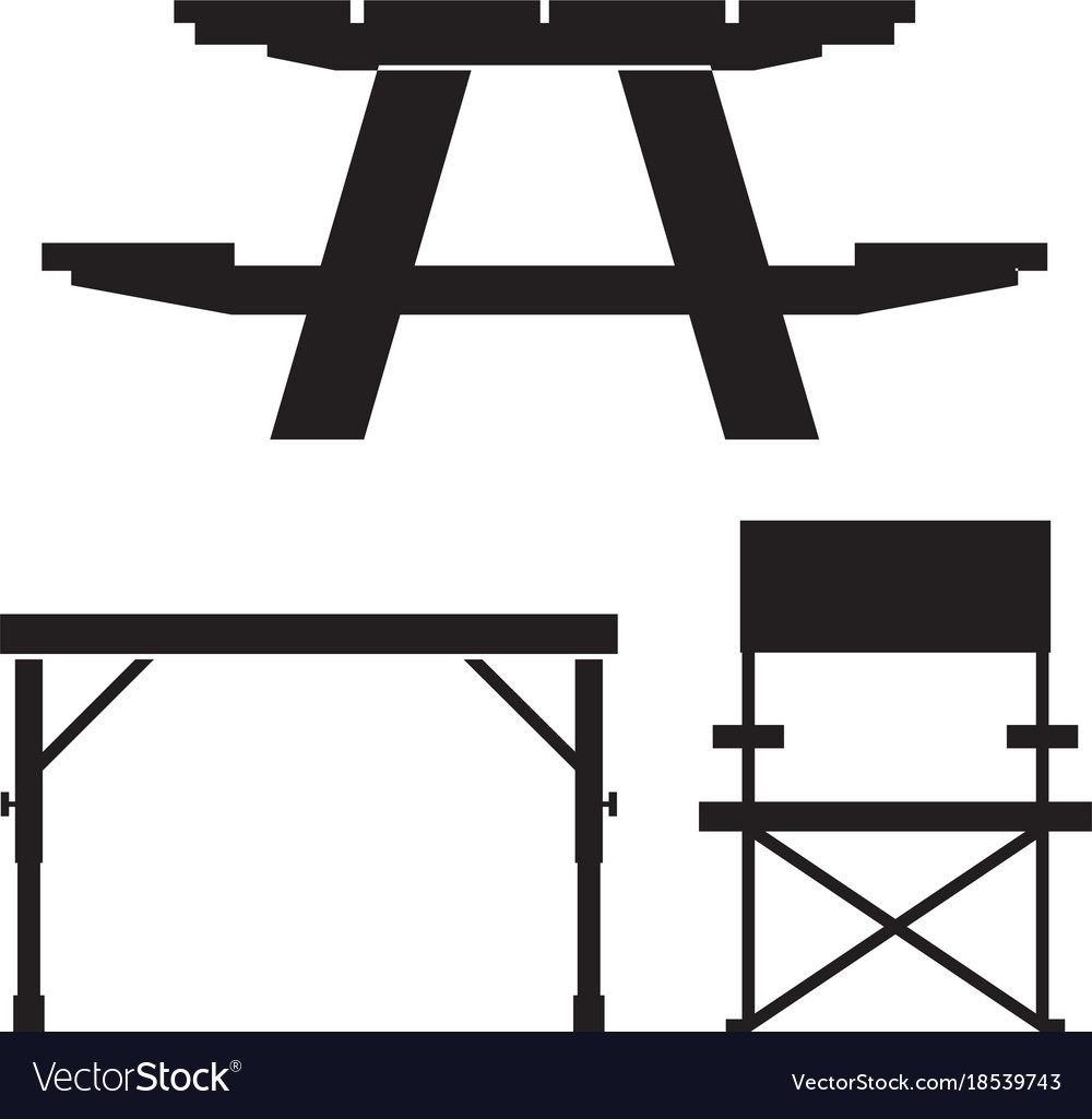 Camping and picnic table icons