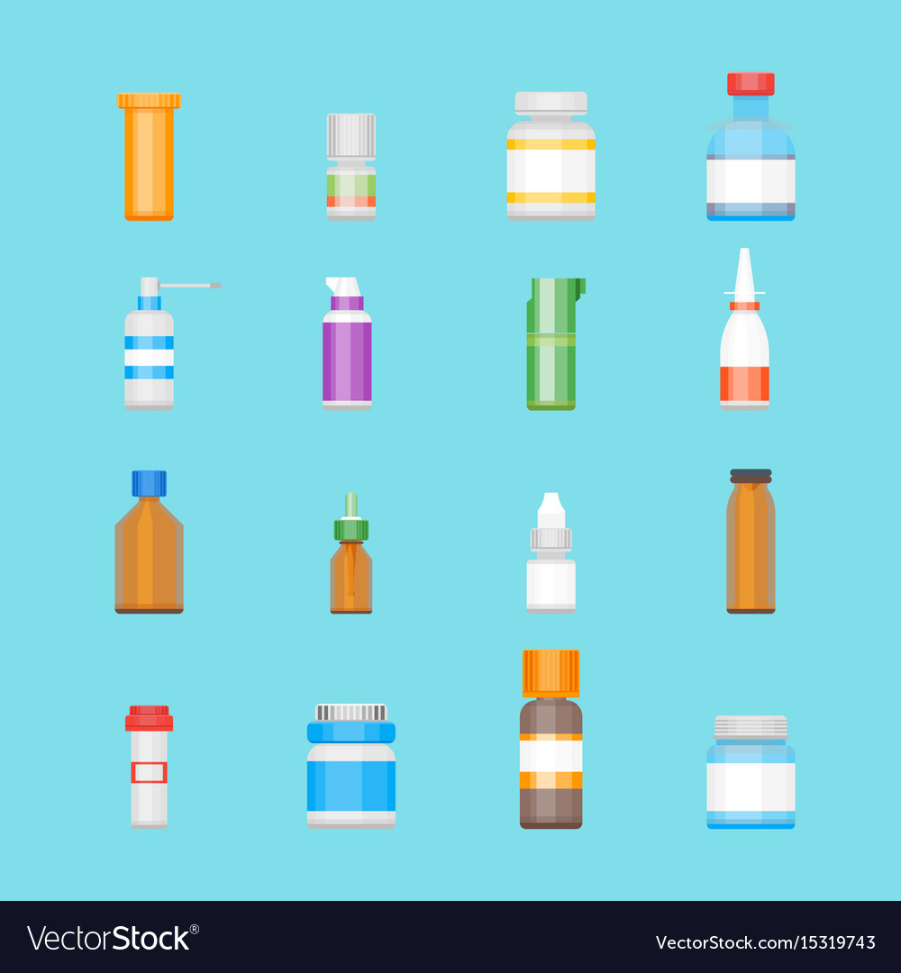Cartoon medicine bottles for drugs color icons set