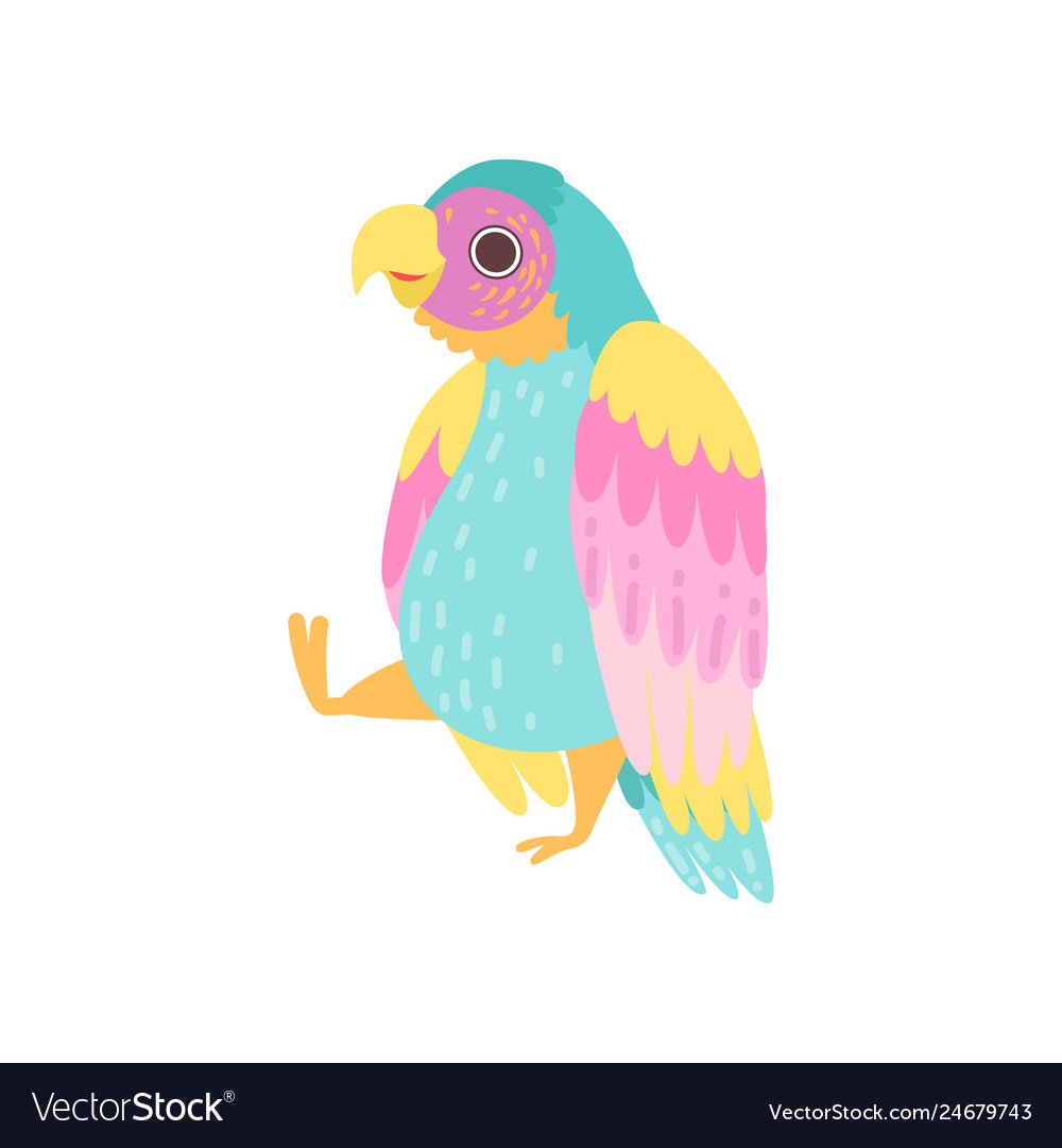 Cute tropical parrot with iridescent plumage