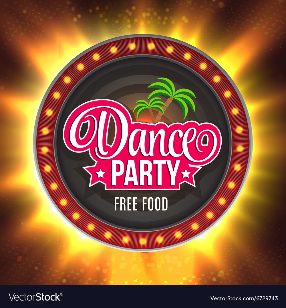 Dance Party Shining retro light banner